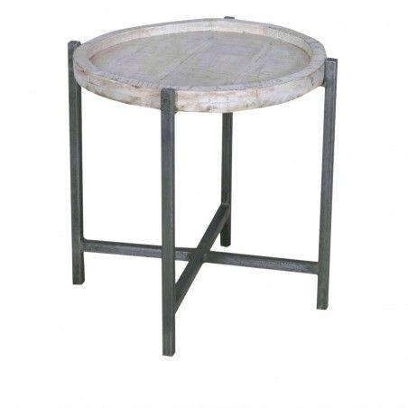 Nachttisch Beistelltisch rund Loft Style weiß gekälkt Metallgestell altsilber