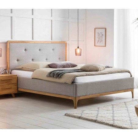 HASENA Polsterbett Silento Stoff grau Holz Eiche bianco 160x200