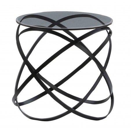 MIOTTO Nachttisch Paola mit Rauchglasplatte Stahlgestell