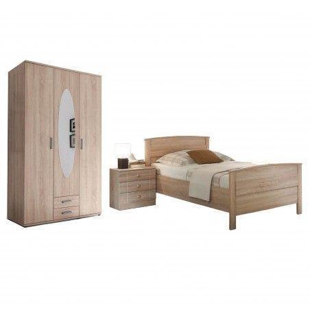 Seniorenzimmer Bett Nachttisch Kleiderschrank Eiche Sonoma Nachbildung