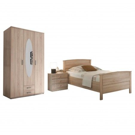Set Seniorenbett Nachttisch Kleiderschrank Eiche Sonoma Nachbildung