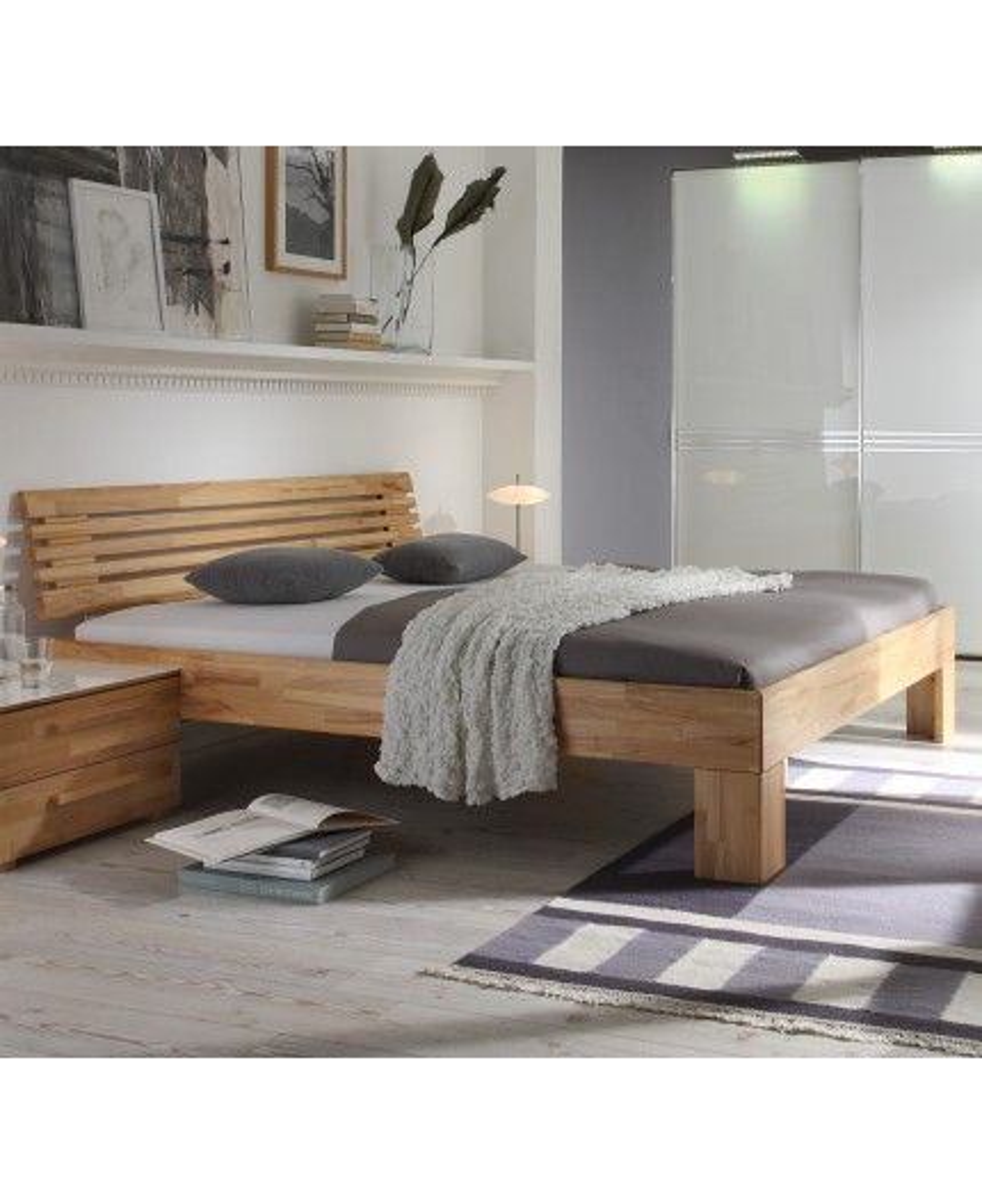 Hasena Wood Line Bett Premium 18 Kernbuche Füße Massa 20 Kopfteil
