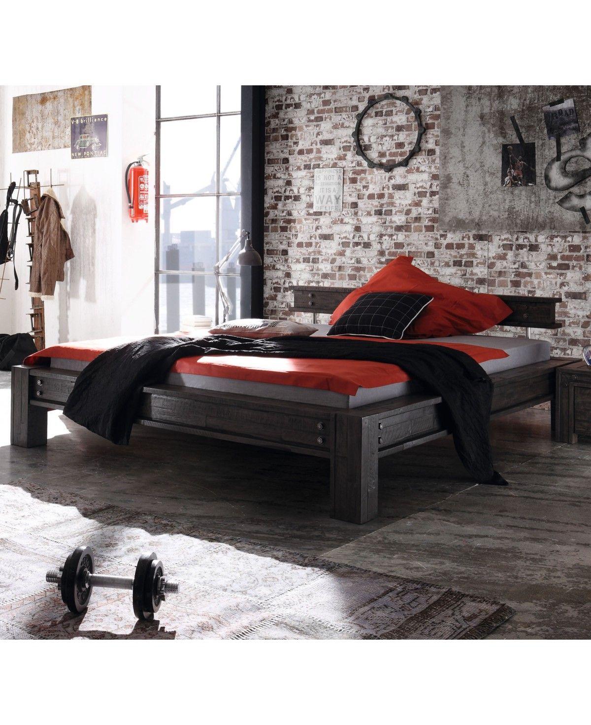 Hasena Factory Line Loft Stil Bett San Luca Akazie Vintage Grey 140x200