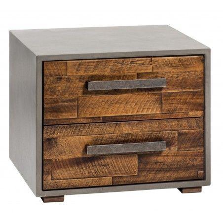 HASENA Beton Nachttisch Modo Front Akazie vintage brown betonfarbig