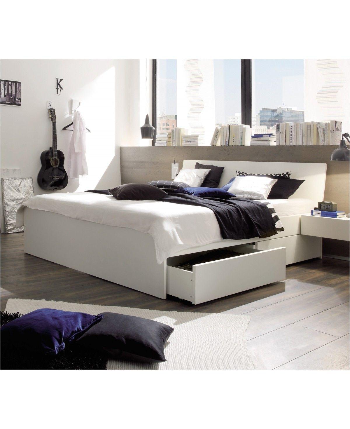 hasena spazio stauraumbett mit schubladen buche weiß lackiert 180x200