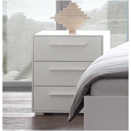 HASENA Fine Line Moderno Nachttisch Trino Buche massiv weiß deckend