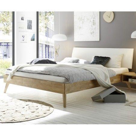 HASENA Fine Line Moderno Eiche Bett Pesaro Kopfteil Lecco weiß 180x200