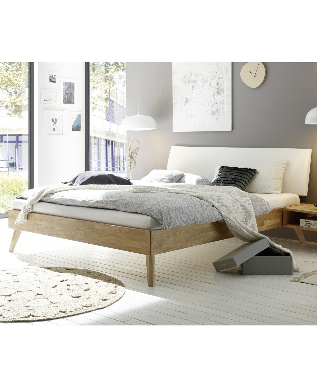 hasena fine line eiche bianco bett pesaro kopfteil lecco wei 160x200. Black Bedroom Furniture Sets. Home Design Ideas