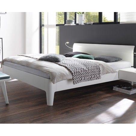 HASENA Fine Line Bett Syma 18 Füße Xylo Buche weiß deckend 160x200