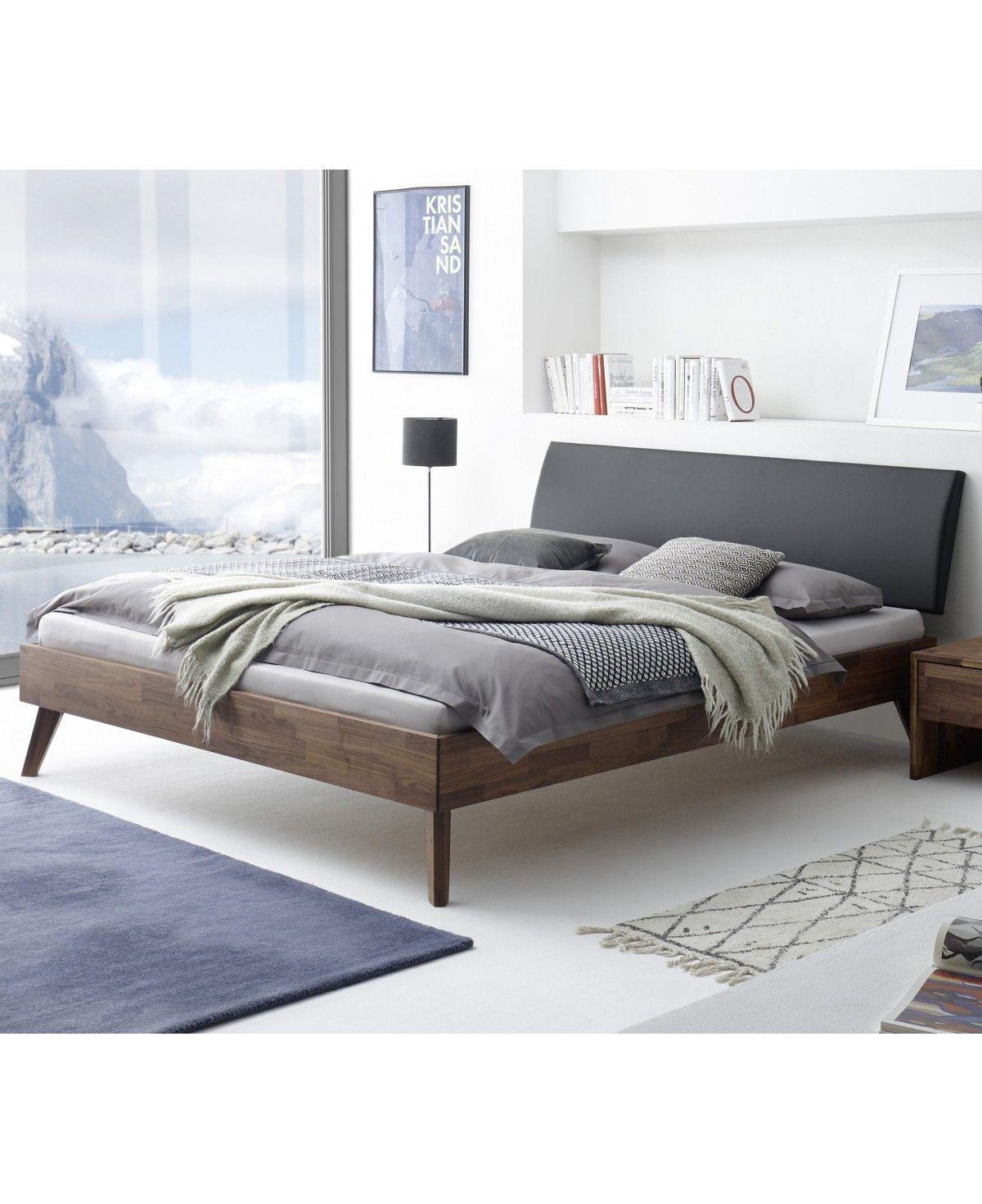 HASENA Fine Line Bett Caprile Nussbaum Kopfteil Lecco schwarz 140x200