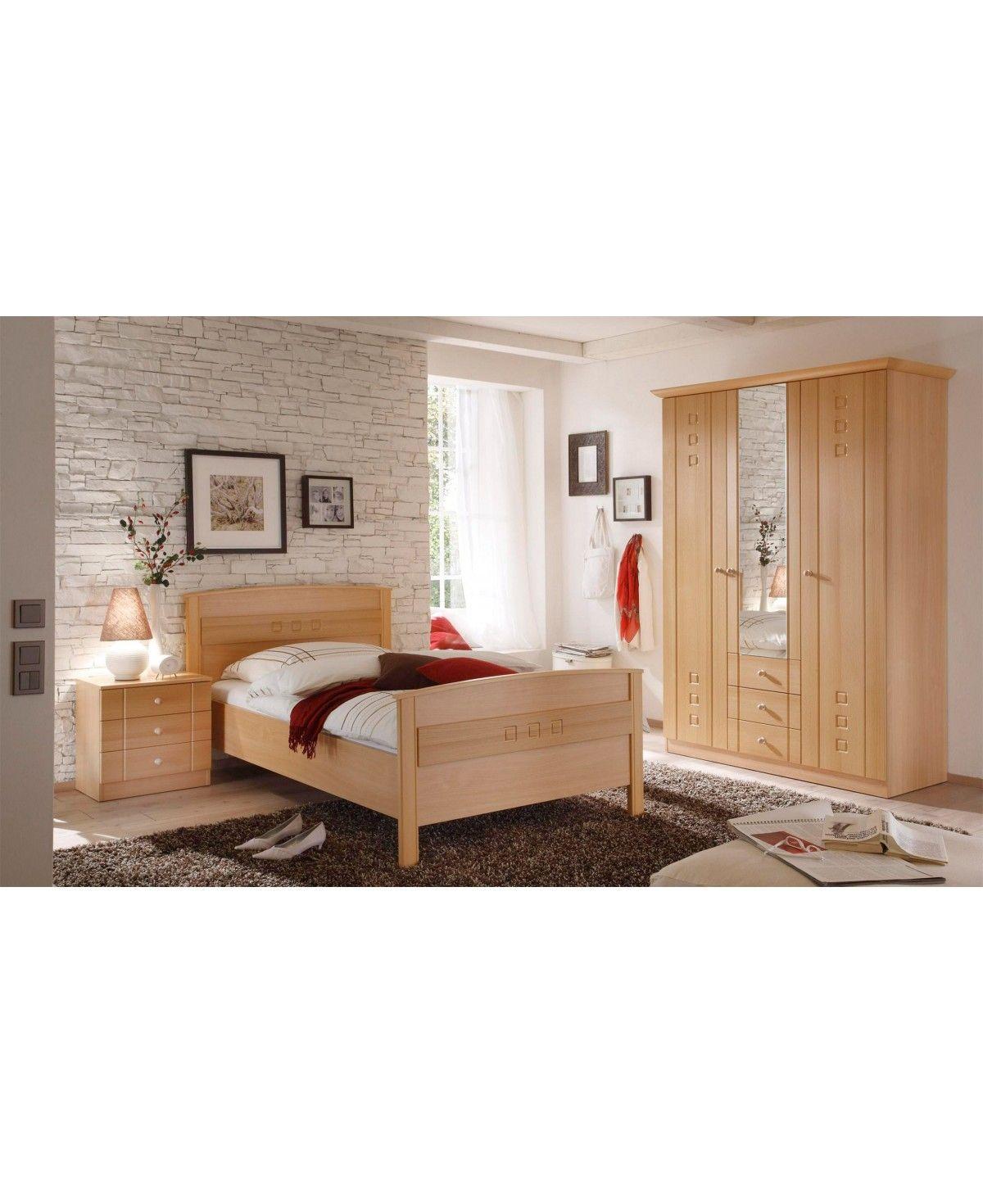 Schlafzimmer Seniorenzimmer Komfortbett Schrank Kommode Buche Dekor