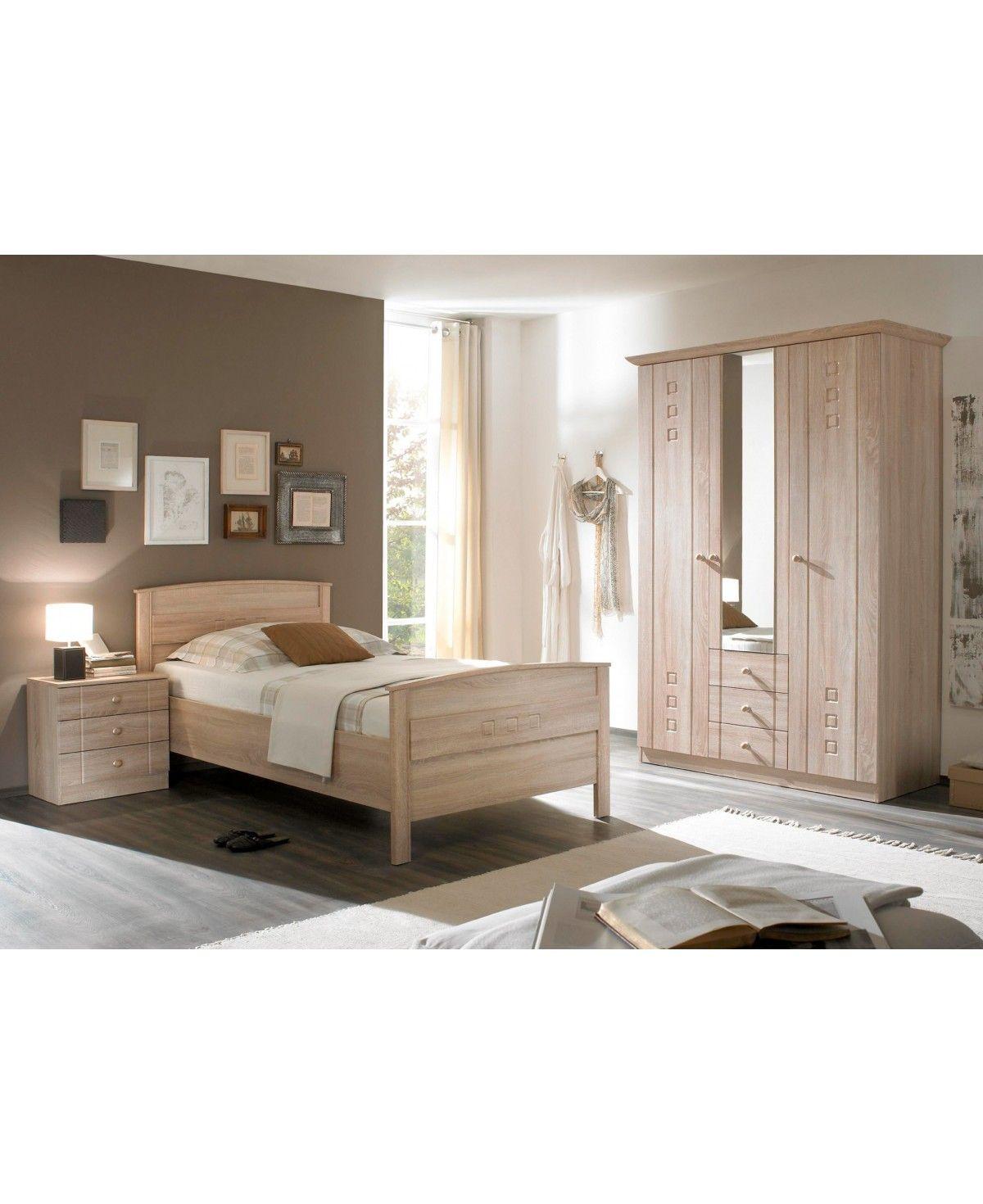Schlafzimmer Seniorenzimmer Komfortbett Schrank Kommode Eiche Dekor