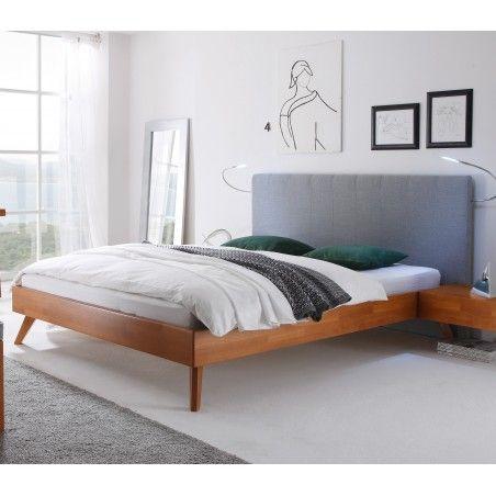 HASENA Wood Line Bett kirschbaumfarbig Füße Leno Paneel Colina 180x200