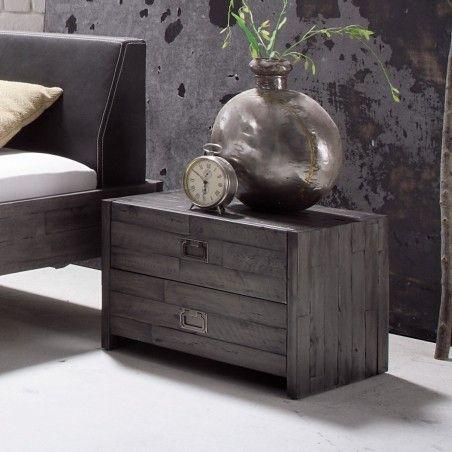 HASENA Factory Line Nachttisch Cali mit 2 Schubladen vintage grey