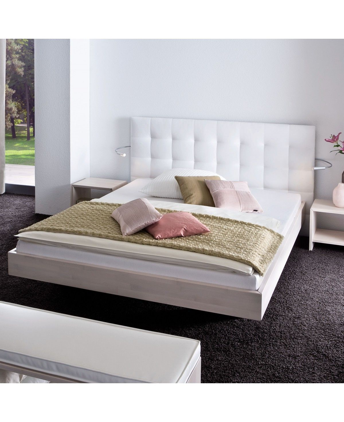 hasena wood line bett wandpaneel sogno l f e vilo buche wei 180x220. Black Bedroom Furniture Sets. Home Design Ideas