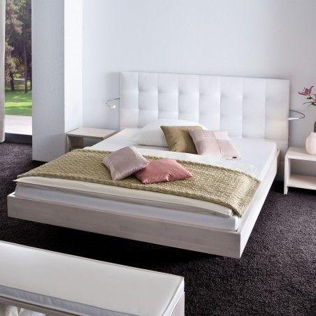 HASENA Wood Line Bett Wandpaneel Sogno L Füße Vilo Buche weiß 140x220