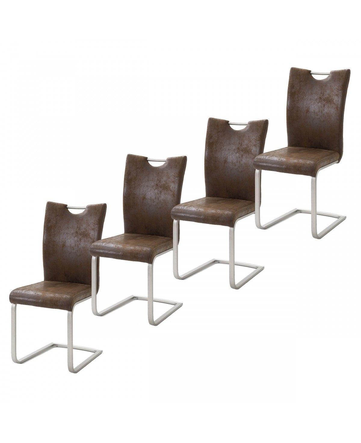 schwingst hle st hle 4er set vintage look rahmen edelstahl geb rstet. Black Bedroom Furniture Sets. Home Design Ideas