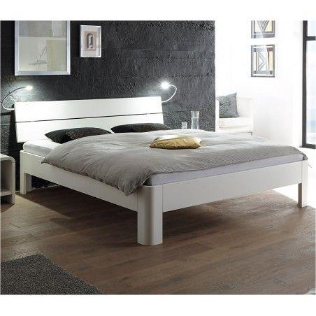 HASENA Fine Line Bett Syma 18 Füße Ronda Buche weiß deckend 100x200