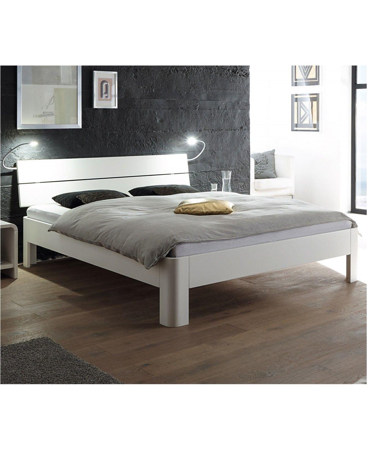 HASENA Fine Line Bett Syma 18 Füße Ronda Buche weiß deckend 200x200