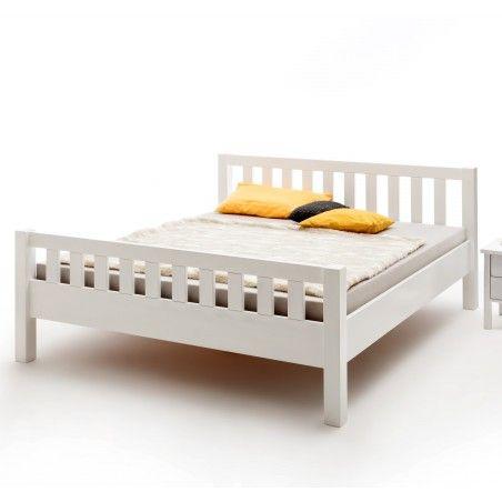 Komfortbett Buche massiv weiß lackiert mit Kopf- und Fußteil 140x200