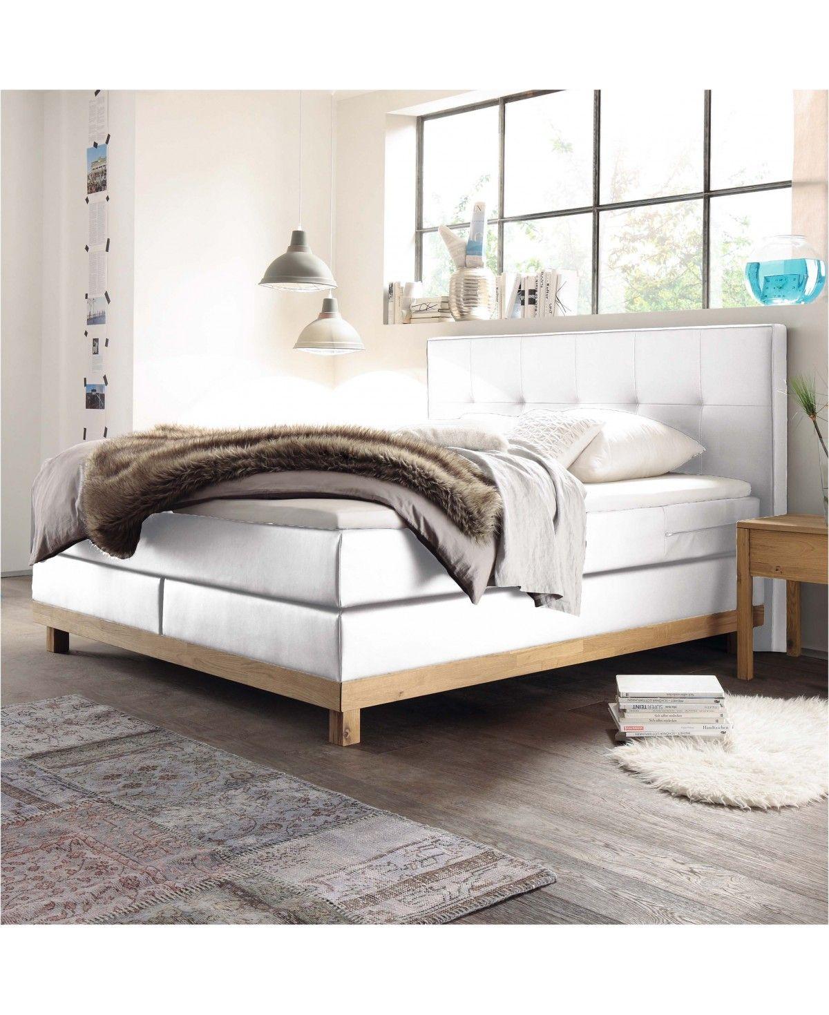 hasena boxspringbett bella eiche bianco kunstleder wei. Black Bedroom Furniture Sets. Home Design Ideas