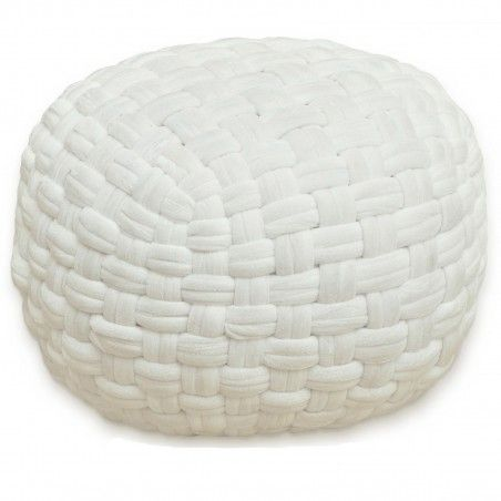 Sitzhocker Pouf Sitzpouf Velours handgeknüpft Ø 55 cm weiß