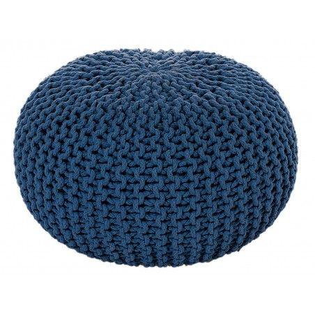 Sitzpouf Strickhocker Grobstrick handgeknüpft Ø 55 cm meeresblau