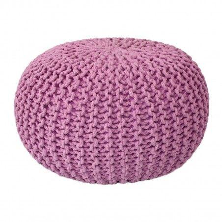 Sitzpouf Strickhocker Grobstrick handgeknüpft Ø 55 cm pink