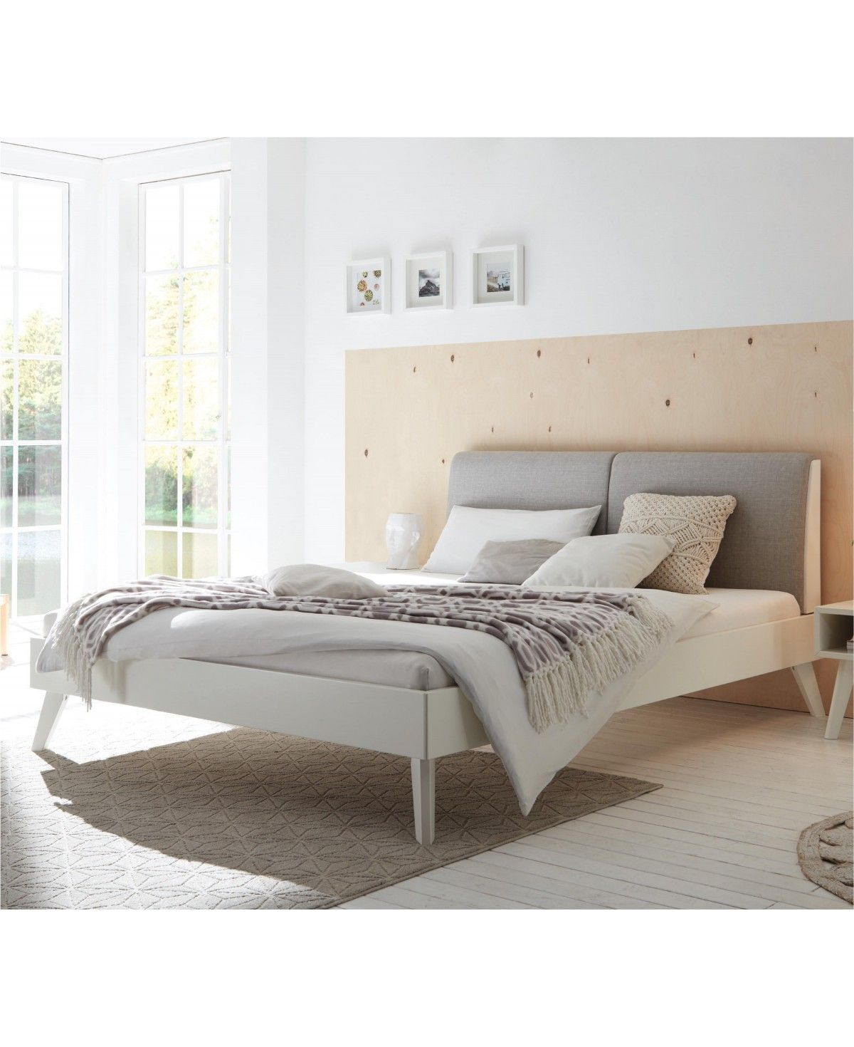 hasena bett simone 20 buche wei deckend polsterkopfteil. Black Bedroom Furniture Sets. Home Design Ideas