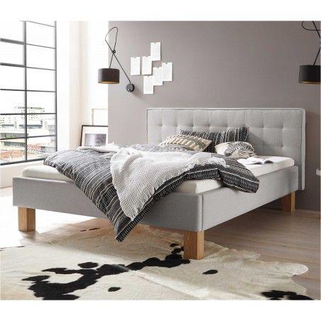 HASENA Dream Line Polsterbett Noemi 20 Eiche bianco|Stoff grau 180x200