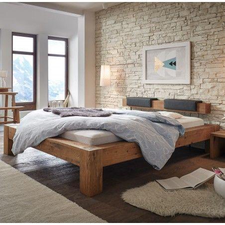 HASENA Oak Wild Bett Bormio Wildeiche mit Kopfteil und Polster 140x200