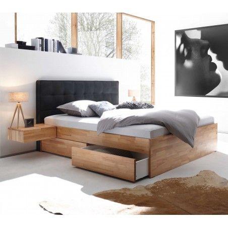 HASENA Elito Bett Kernbuche 4 Bettkästen Polsterkopfteil grau 180x200